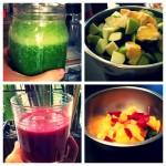 Green juice and morning sunrise
